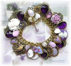 Hearts Cameo Flower Charm Bracelet Purple Brass Beads from thevintageheart on Ruby Lane