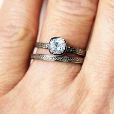 White gold engagement ring set  forever brilliant by metalicious