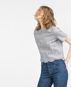 Image 2 of EMBROIDERED CROPPED TOP from Zara