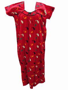Boho Hippie Fashion Long Maxi Red Dress Bohemian Sleepwear Nightgown