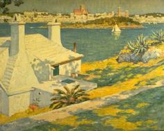 """""""Tropical Harbor,"""" William Chadwick, oil on canvas, 20 x 24"""", Florence Griswold Museum."""