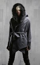 Mode cool dunkelgrau gothic trenchcoat männer fell-kapuze rock punk kleidung winter herbst(China (Mainland))