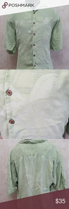 Tommy Bahama Mens XL Beach Floral Brand: Tommy Bahama  Size: XL  Color: Green  Material: 100% Silk   Measurements Approx in inches:   Chest: 23 1/2  Length: 30 1/2  Sleeve: 10 3/4 Tommy Bahama Shirts Casual Button Down Shirts