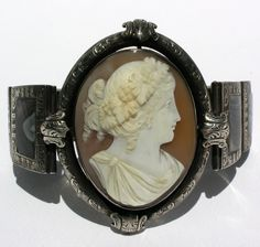 Victorian silver banded Agate and Cameo bracelet