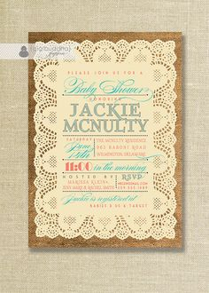 Lace Burlap Baby Shower Invitation Vintage by digibuddhaPaperie, $23.00