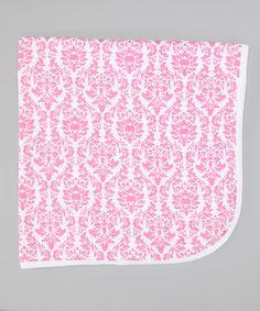 Seesaws & Slides Pink Damask Receiving Blanket