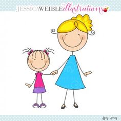 Mom & Daughter Stick Figure