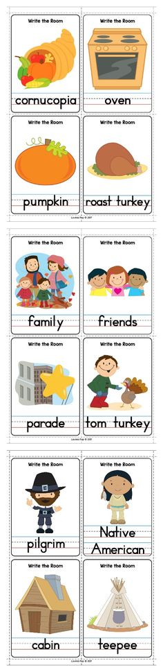 Thanksgiving Centers for Kindergarten. Write the room cards.