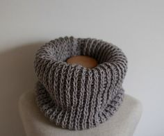 SALE Chunky Silver grey cowl vegan infinity scarf by FawnAndFolly
