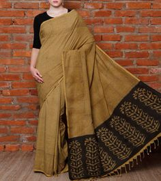Green & Black Kalamkari Ahimsa Silk Saree