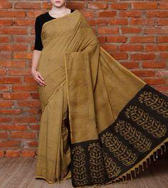 Green & Black Kalamkari Ahimsa Silk Saree