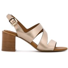 See By Chloé Dania City Sandals ($278) ❤ liked on Polyvore featuring shoes, sandals, metallic, mid heel sandals, open toe shoes, ankle strap mid heel sandals, see by chloe sandals and leather ankle strap sandals