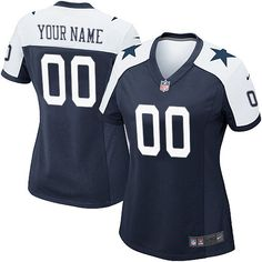 Women's Nike Dallas Cowboys Customized Limited Navy Blue Throwback Alternate NFL Jersey Sale