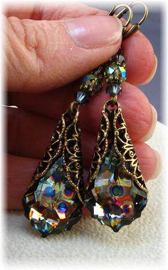 New Swarovski Peacock Coated Crystal Vintage Baroque Earrings~HisJewelsCreations