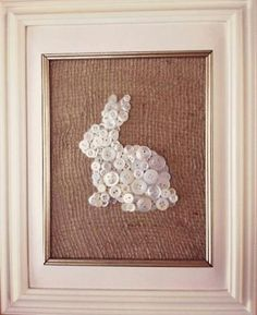 Button bunny on burlap, framed