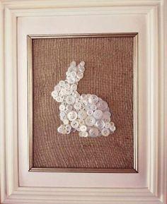Button bunny on burlap, framed