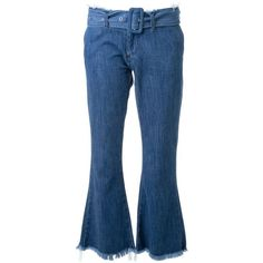 Marques Almeida Flared Jeans With Belt ($165) ❤ liked on Polyvore featuring jeans, pants, navy, blue jeans, navy jeans, navy blue jeans, flare jeans and cropped jeans