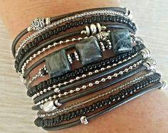 Best Friend Wrap Bracelet - Everyday Bracelet - Multistrand Cuff Bracelet - Ladies Wrap Bracelet - Beaded Boho Bracelet - Festival Look Leather Cuffs, Leather Jewelry, Boho Jewelry, Tan Leather, Bracelet Wrap, Beaded Bracelets, Diamond Bracelets, Anklets, Textiles