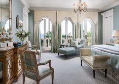 Master Bedroom details- drapes, cornices, lighting ..