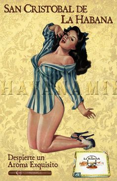 SAN CRISTOBAL Cuban Cigar Pinup Art Print by CarlsonBrands on Etsy