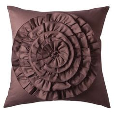 Boho Boutique Flower Applique Pillow - Chocolate.