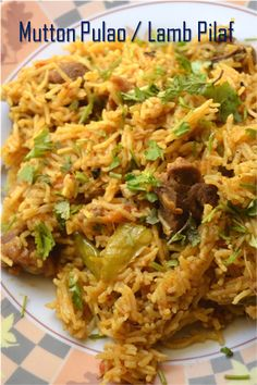 Mutton pulao is a dish fairly common in north indian and pakistani cuisine that incorporates mutton into a rice pilaf. Meat Rice Recipe, Savoury Rice Recipe, Rice Pilaf Recipe, Savory Rice, Rice Recipes, Indian Food Recipes, Ethnic Recipes, Rice Dishes, Tasty Dishes