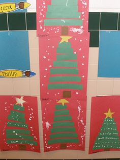 Christmas tree sequencing craft with snow (Q-tips and white paint)
