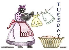Alice Brooks 6078 African American Mammy for Days of the Week Dish Towels. A 1940s cross Stitch hand embroidery pattern.