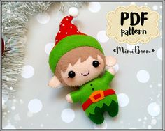 This is a digital tutorial on how to make Christmas Elf ornament from felt  Included step by step instructions, pictures and full size pattern pieces. (no need to enlarge or resize). Its completely hand sew and you dont need a sewing machine.  THIS IS NOT A FINISHED TOY. THIS IS A PDF