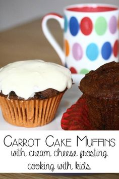 Carrot cake muffins with cream cheese frosting - cooking with kids from A to Z