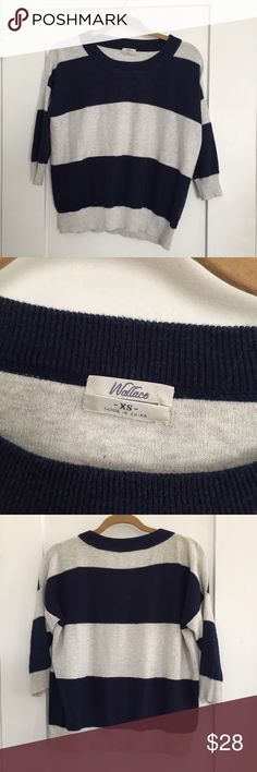 Madewell Navy And White Striped Sweater, size XS Madewell Navy And White Striped Sweater, size XS. Excellent condition. 90% cotton 10% wool. Please see my other Madewell items! I combine shipping! Madewell Sweaters Crew & Scoop Necks