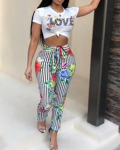 Floral Print Cropped Top Two Piece Pants Set, Two Piece Outfit, Modest Fashion, Fashion Outfits, Womens Fashion, Style Fashion, Souliers Nike, Trendy Outfits, Cute Outfits