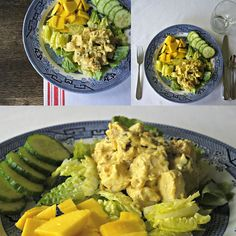 Coronation Chicken Salad made with turmeric, curry powder and mango chutney