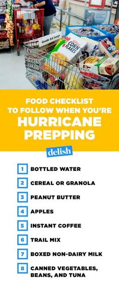 The Best Foods To Buy When You're Hurricane Prepping Hurricane Preparedness Food List Ideas - What Food to Buy to Prepare for a Hurricane Hurricane Supplies, Hurricane Kit, Hurricane Alley, Hurricane Party, Survival Food, Survival Prepping, Survival Skills, Zombies Survival, Survival Stuff