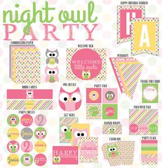 Night Owl Party Printable Full Collection from Love The Day on Etsy, $45.00