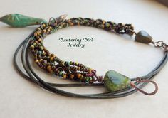 Pottery Pod Pendant on Braided Seed Beads with Leather  by BanteringBird