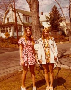 """Nancy and Brenda Reamy in 1970s classic """"sizzler"""" dresses in this 1972 photo from River Edge. Courtesy of Brenda Reamy Vintage photos of the 1970s"""
