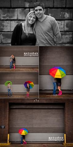 What a fun way to brighten up a rainy e-session!!  I love this rainbow umbrella!