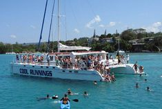 Catamaran cruise with Dunn's River falls from Ocho Rios Attractions In Jamaica, Living In Jamaica, Kingston Jamaica, Montego Bay, Negril Jamaica, Ocho Rios, Boat Tours, Catamaran, Vacation Spots