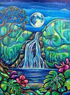 Colleen Wilcox Art- my favorite! She is AMAzing! I want all of her work! Colleen Wilcox Art- my favorite! She is AMAzing! I want all of her work! Waterfall Paintings, Polynesian Art, Hawaiian Art, Tropical Art, Surf Art, Psychedelic Art, Painting Inspiration, Diy Art, Amazing Art