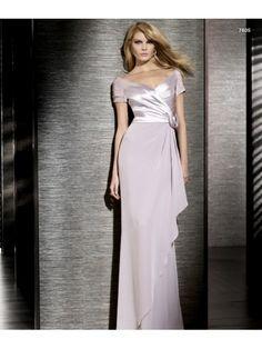 Chiffon Etui-Linie V-Ausschnitt Wadenlang Handgemachte Weiß Brautmutterkleid WBD0005