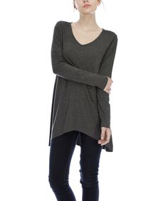 Another great find on #zulily! Charcoal Hi-Low Tunic by First Feeling #zulilyfinds