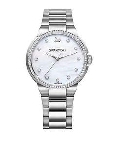 Swarovski City Pave White-Dial Bracelet Watch Women's Silver