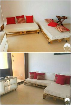See how awesomely the corner couch design has been created with the wood pallet use within it! This giant design of the corner couch is giving you the access of single framing of seating arrangement. If you are a couch lover, you will surely love adding this piece of furniture in your house!