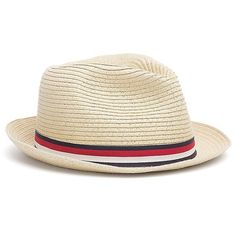 Tommy Hilfiger Straw Fedora ($50) ❤ liked on Polyvore featuring accessories, hats, band hats, straw fedora hat, fedora hat, stripe hat and tommy hilfiger
