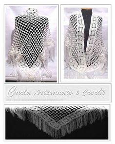 Xale Branco em crochet