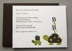 Two Turtles A2 Flat Note Baby Shower Invitations by RatDogInk, $17.00