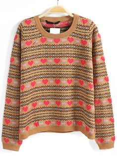 / Coffee Geometric Love Round Neck Wool Blend Sweater
