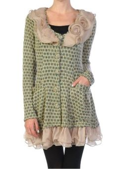Anthropologie-Ryu-Boutique-Ruffle-Rosette-Cluster-Cardigan-Sweater-Dress-Coat-L