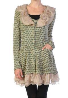 Anthropologie-Ryu-Boutique-Ruffle-Rosette-Cluster-Cardigan-Sweater-Dress-Coat-L